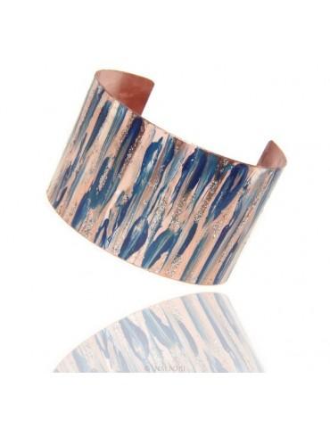 Bracelet slave woman opened adjustable NALBORI blue  glitter cream