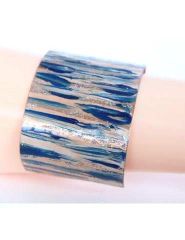 Bracciale donna schiava aperto regolabile blu panna glitter NALBORI®