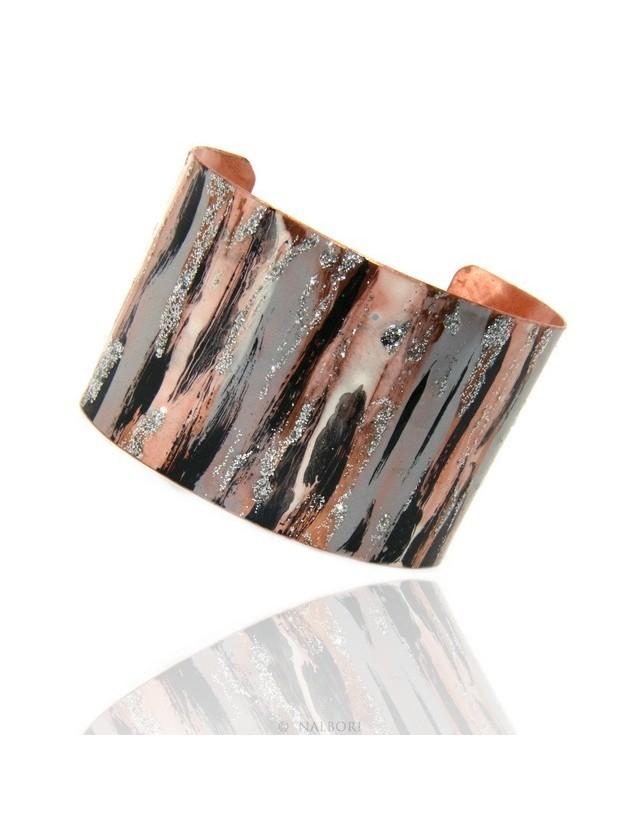 Bracelet slave woman opened adjustable NALBORI black / grey glitter cream