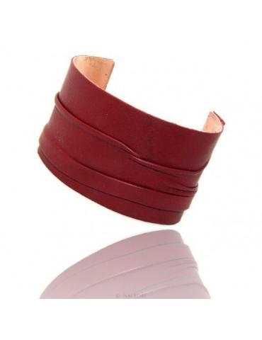 Adjustable open slaved woman bracelet dressed in genuine dark red leather NALBORI®