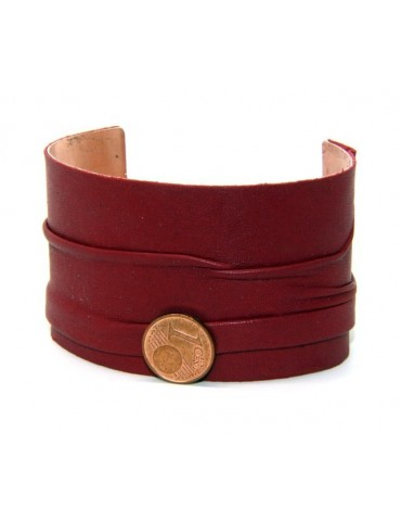Adjustable open slaved woman bracelet dressed in genuine dark red leather NALBORI®
