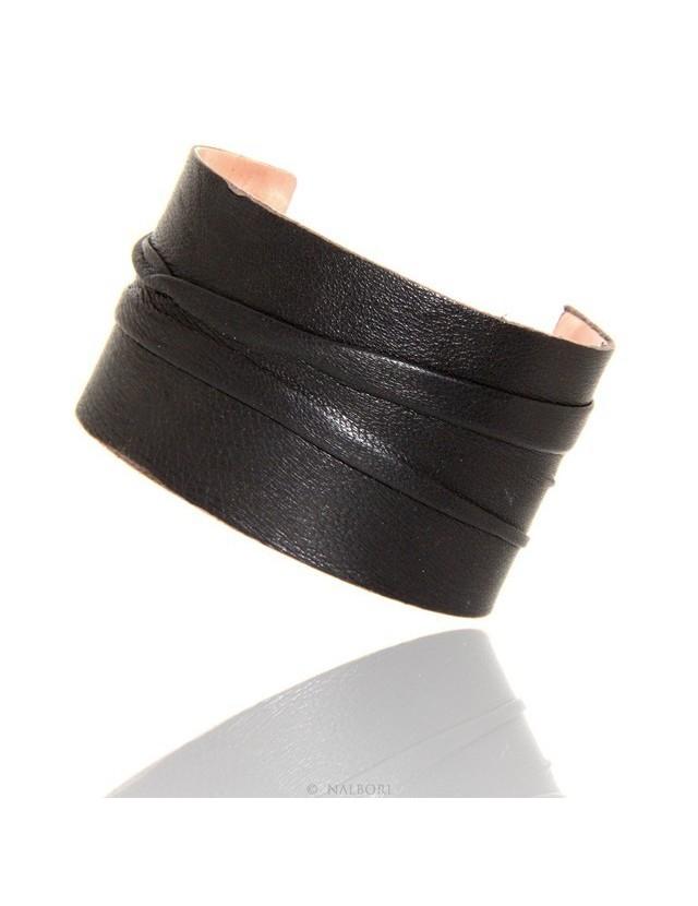 Adjustable open slaved woman bracelet dressed in genuine black leather NALBORI®