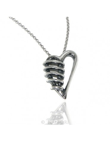 collana NALBORI argento 925 realizzata a mano con ciondolo cuore bendato brunito anticato