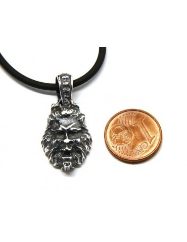 Necklace NALBORI Silver 925 hand made pendant with antique burnished lion head