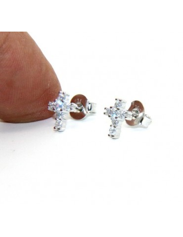 Silver 925: man / woman earrings light cross small zircon cross