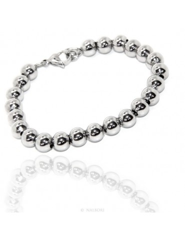 Steel bracelet woman hypoallergenic male chromed balls big balls 8 mm - 17.00 - 18.50 cm