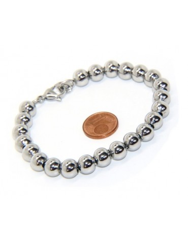 Steel bracelet woman hypoallergenic male chromed balls big balls 8 mm - 17.00 - 18.50 cm