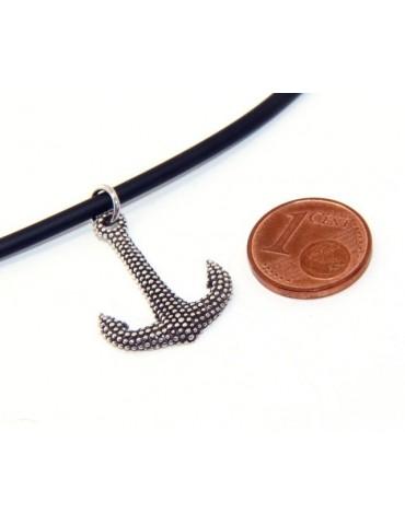 Argento 925 : esclusiva collana realizzata a mano con ciondolo ancora palline pallinato scuro