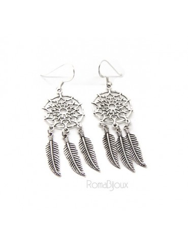 925, pendants earrings woman with dream catchers catcher and antique dark feathers