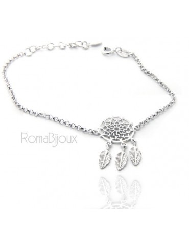 Silver 925, woman bracelet girl circle and feathers dreams catch dreamcatcher 15-19 cm