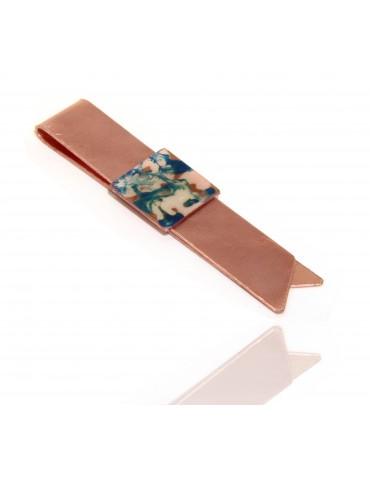 Fermasoldi NALBORI ® ferma soldi clip da tasca uomo in rame anallergico con smalto azzurro panna