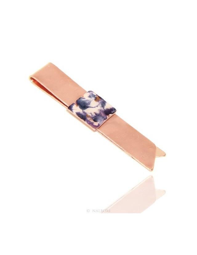 eb013ed564d Money Clip stops NALBORI ® made of hypoallergenic copper for man with purple    cream enamel