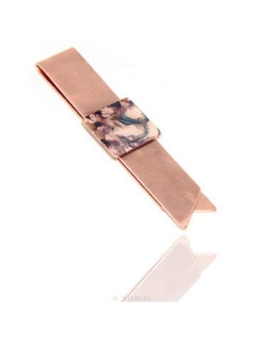 Money Clip stops NALBORI ® made of hypoallergenic copper for man with purple & cream enamel