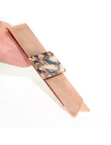 Money Clip stops NALBORI ® made of hypoallergenic copper for man with purple & cream enamel