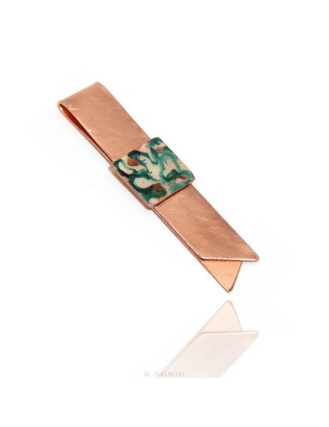 Money Clip stops NALBORI ® made of hypoallergenic copper for man with black & cream enamel