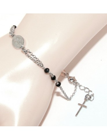 Rosary bracelet male female 925 sterling silver oval madonna, cross and black crystal 16.00 18.50 cm