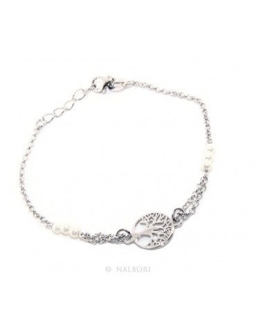 Bracelet man woman boy Silver 925 white rosary workmanship with central life tree 16,50-19,00 cm