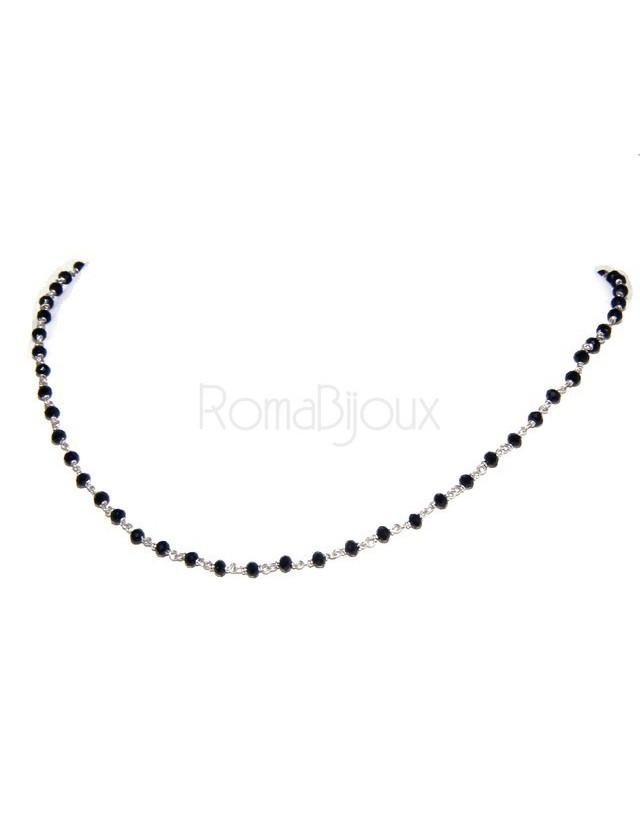Collana Rosario uomo Argento 925 Con cristallo nero croce e madonna 66 cm