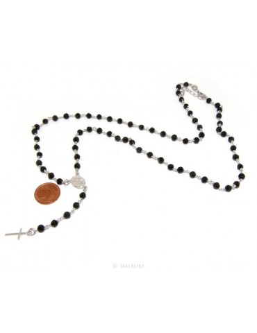 925 Silver Rosary Men's Necklace With Round Black Crystal 4mm Miraculous Madonna Cross 60 + 5