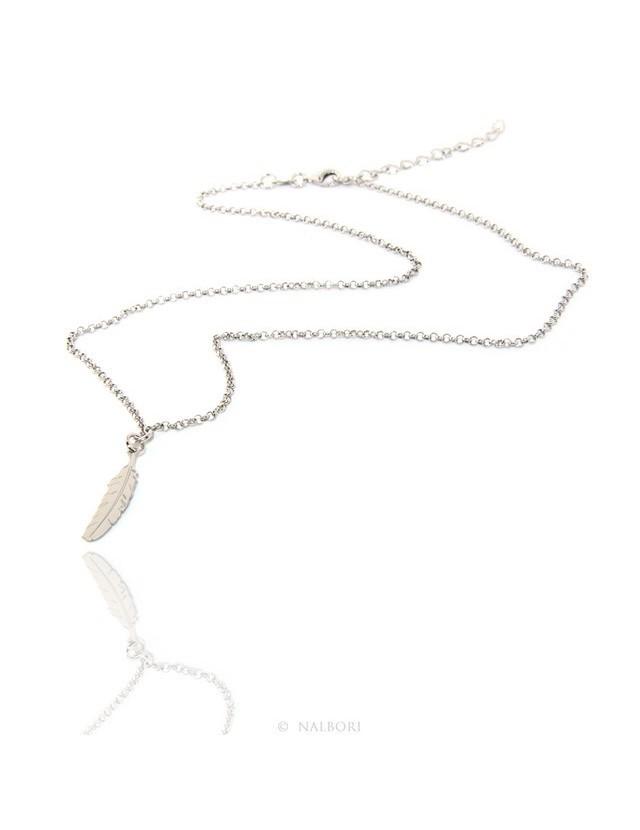 Argento 925 : Collana girocollo uomo o donna con pendente ciondolo piuma taglio laser