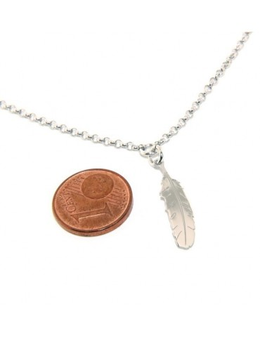 Silver 925: Necklace man or woman with feather pendant laser cutting
