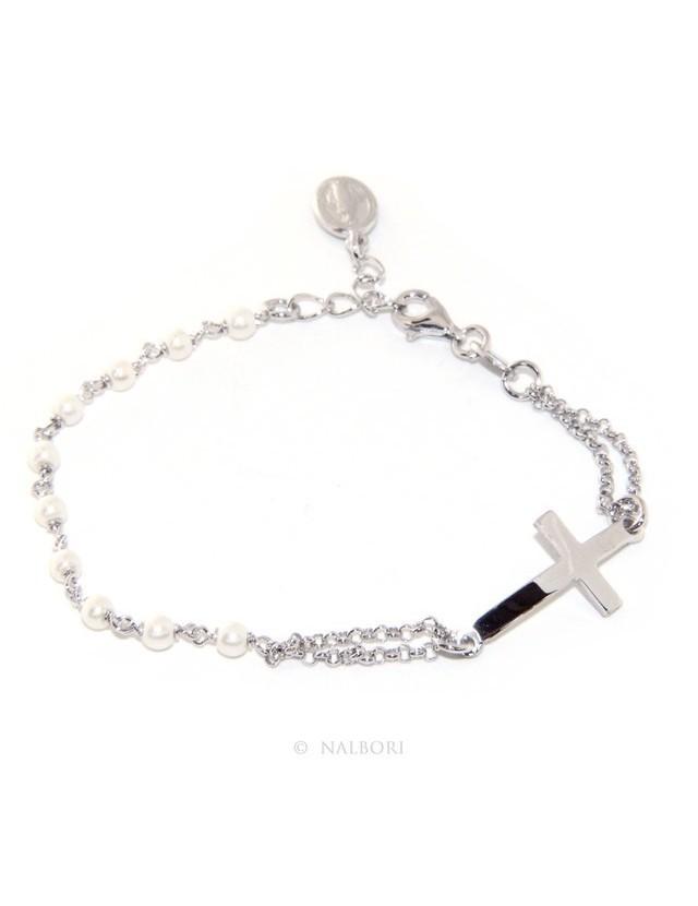 Bracciale rosario donna in Argento 925 madonna miracolosa , croce convessa e perline 15,00 - 17,50 cm