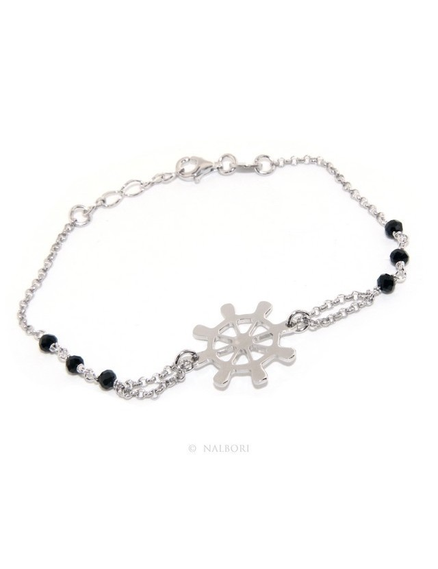 Man Woman Woman Bracelet Silver 925 Black Crystal Rhinestone Workmanship with Central Ruler 16.50 - 18.50