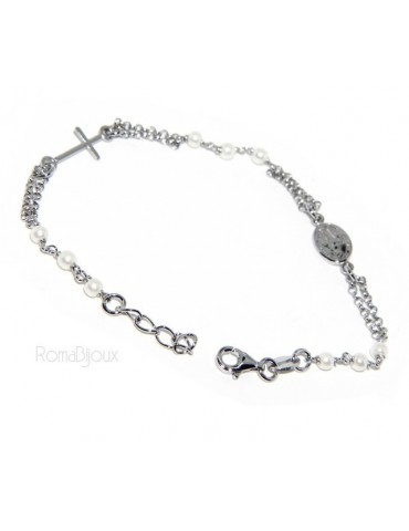 Rosary bracelet male female 925 miraculous Madonna, the cross and white beads 16,50 19,50