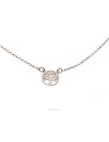 Argento 925 : Collana girocollo uomo o donna con medaglietta medaglia pendente albero della vita