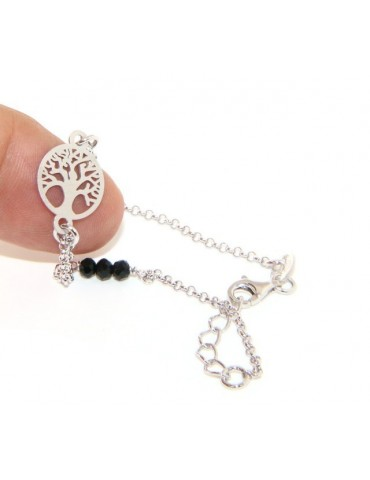 Man Woman Woman Bracelet Silver 925 Black Crystal Rosary Work with Life Tree 15.50-18.50 satin