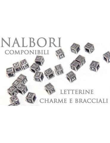 ARGENTO 925 : CHARME letterine cubetti e stop per Bracciale serie Nalbori componibili
