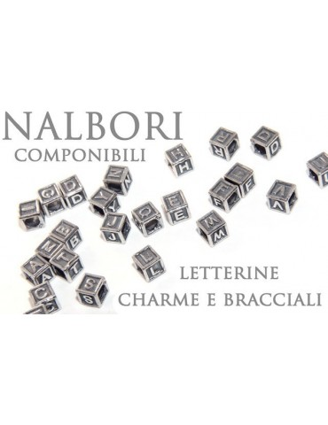 SILVER 925: CHARME cubes and stop letters for modular Nalbori bracelet