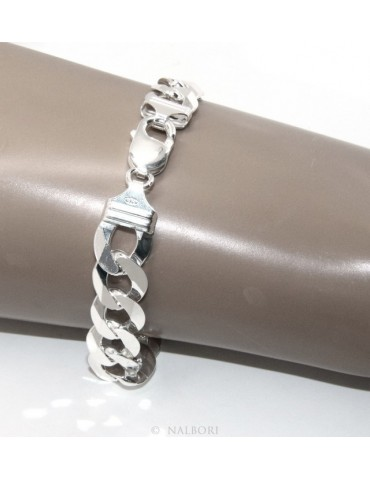 SILVER 925 rhodium plated man's bracelet 13 mm 21/22 cm large heavy for man