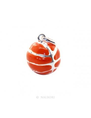 Argento 925 : Ciondolo uomo donna palla pallone da basket arancio Made in Italy