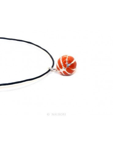 Silver 925: orange pendant for man or woman Ball Basketball  Made in Italy