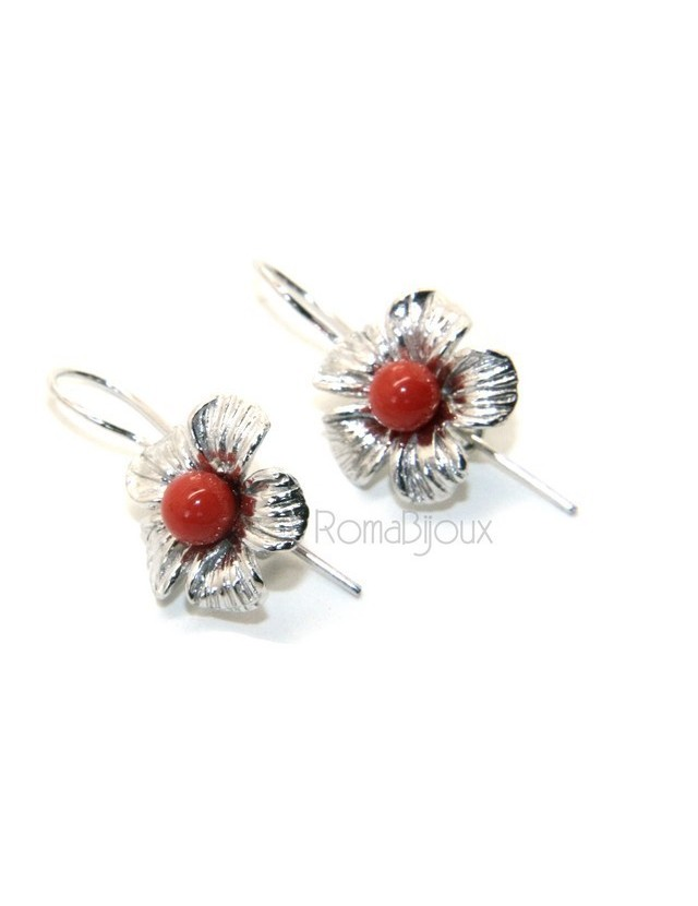 Silver 925 Sterling Pearl Ball Calibrating Natural Red Coral and Flower