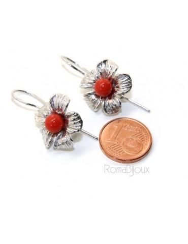 Orecchini in Argento 925 pallina perla calibrata corallo naturale rosso e fiore amo e sicurezza