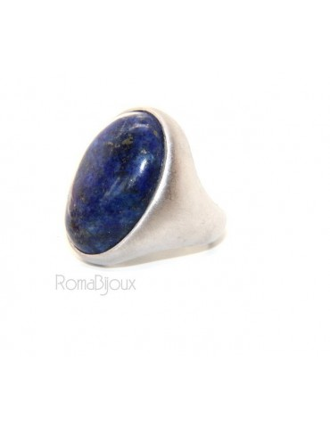 Silver 925 Satin Solid: Oval woman's ring with large blue natural night lapis size 16
