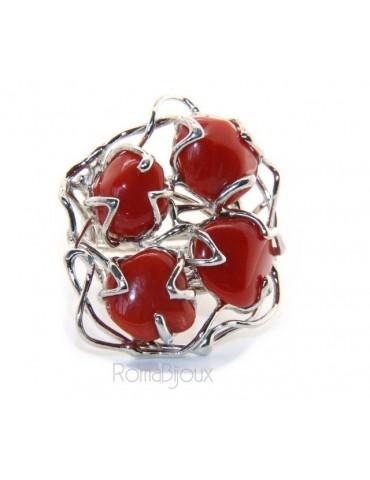 Argento 925 : Anello donna regolabile realizzato a mano 4 gemme di corallo rosso intenso naturale