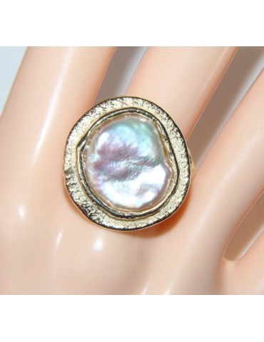 Silver 925 Solid White gold bath ring with white round baroque pearl round bald pressed round flat round