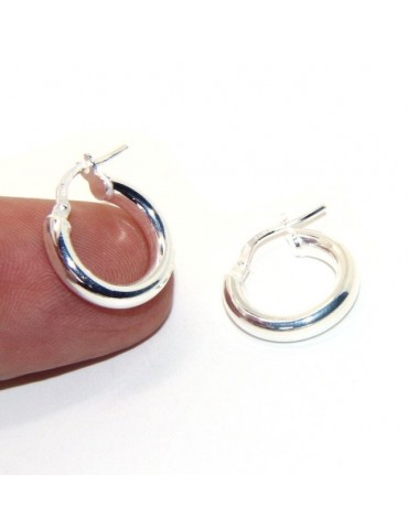 silver earrings 925 sterling silver 15.5 mm 2-color smooth brooches hoop
