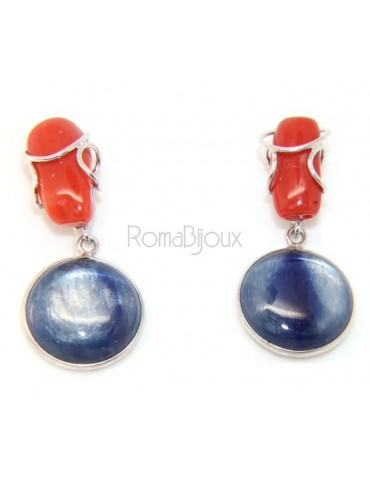 925 Sterling silver earrings with natural red coral and blue cyanite disc.