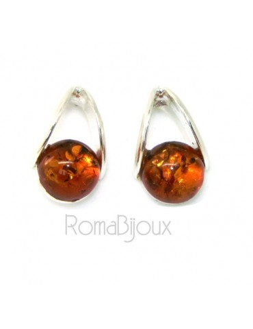 Earrings in 925 Sterling Silver with half pearl carbochon of amber colored cognac