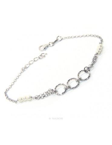 Bracciale uomo donna ragazzo Argento 925 lavorazione a rosario perle bianco con cerchi diamantati 16,50-19,50 cm