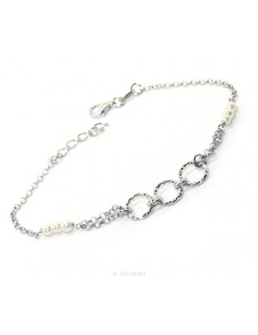 Men's Bracelet Men's Boy Silver 925 Rosary Handmade White Pearls With Diamond Circles 16.50-19.50 cm