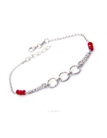 Bracelet man woman boy Silver 925 red rosary work with diamond rings 16.50-19.50 cm