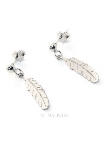Silver 925: woman earrings with ball and feather pendant cut and laser engraved