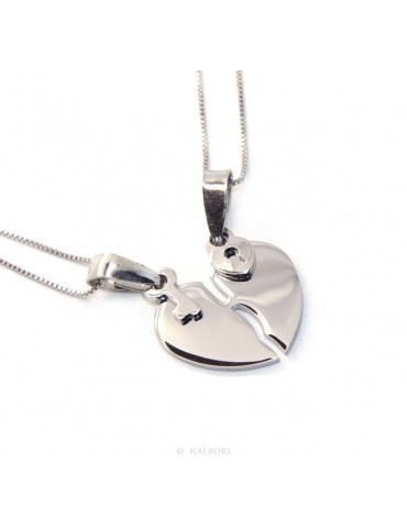Pendant he and her broken heart key in silver 925 rhodium plated + 2 Venetian necklaces