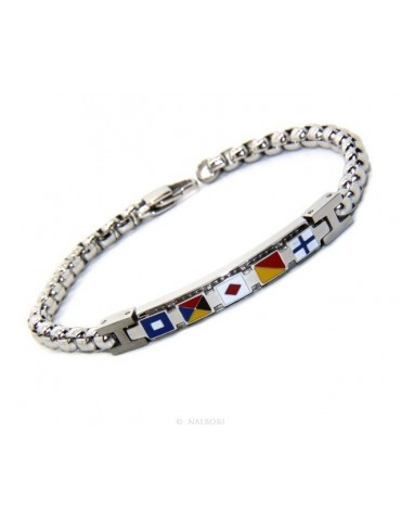 NALBORI bracelet stainless steel bolted plate with glazed flags 19,50 cm