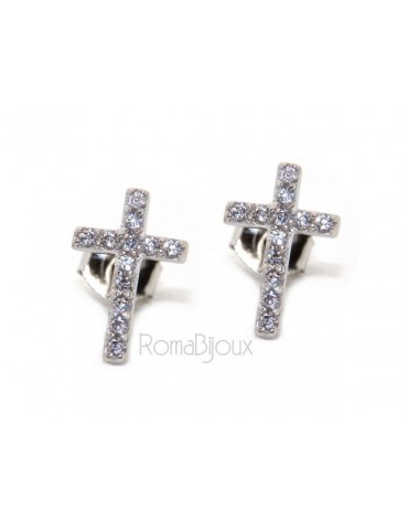 Silver 925: man / woman earrings light cross pendant white zircon 11x7.5 mm